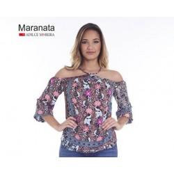 BLUSA MANGA VAZADA COM ALCINHA FLORAL