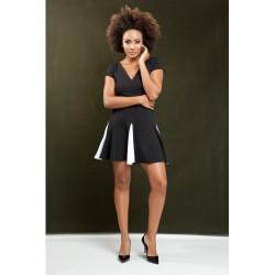 Vestido malha piquet com detalhes em preto e branco