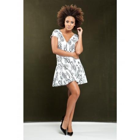 Vestido malha Jacquard com detalhes de renda guipire